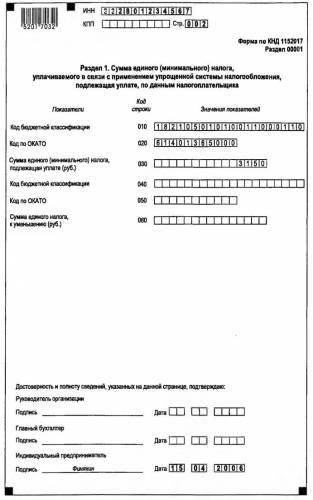 образец заполнения декларации по упрощенной системе налогообложения